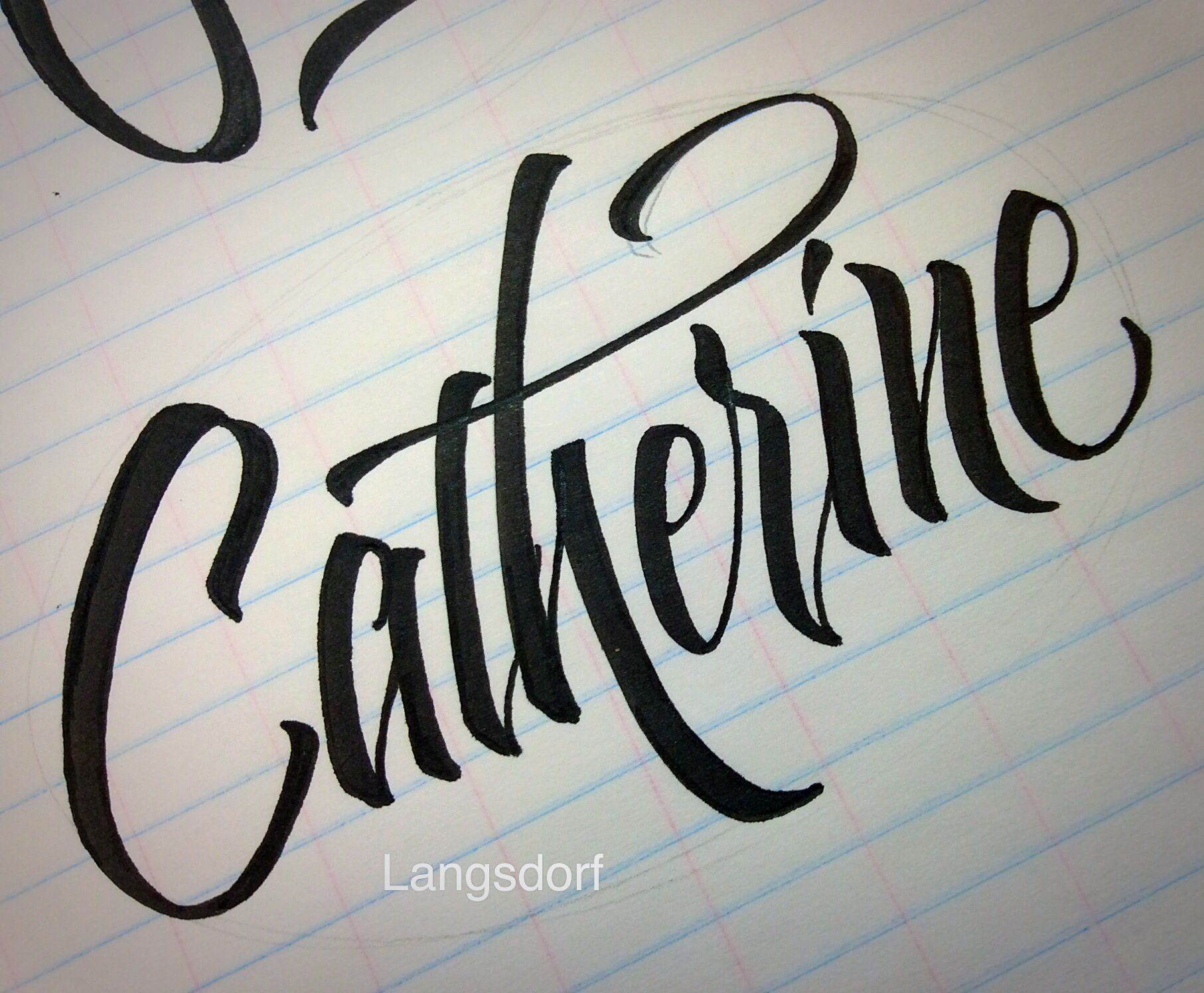 Calligraphy with a pointed brush marker by long village lettering of