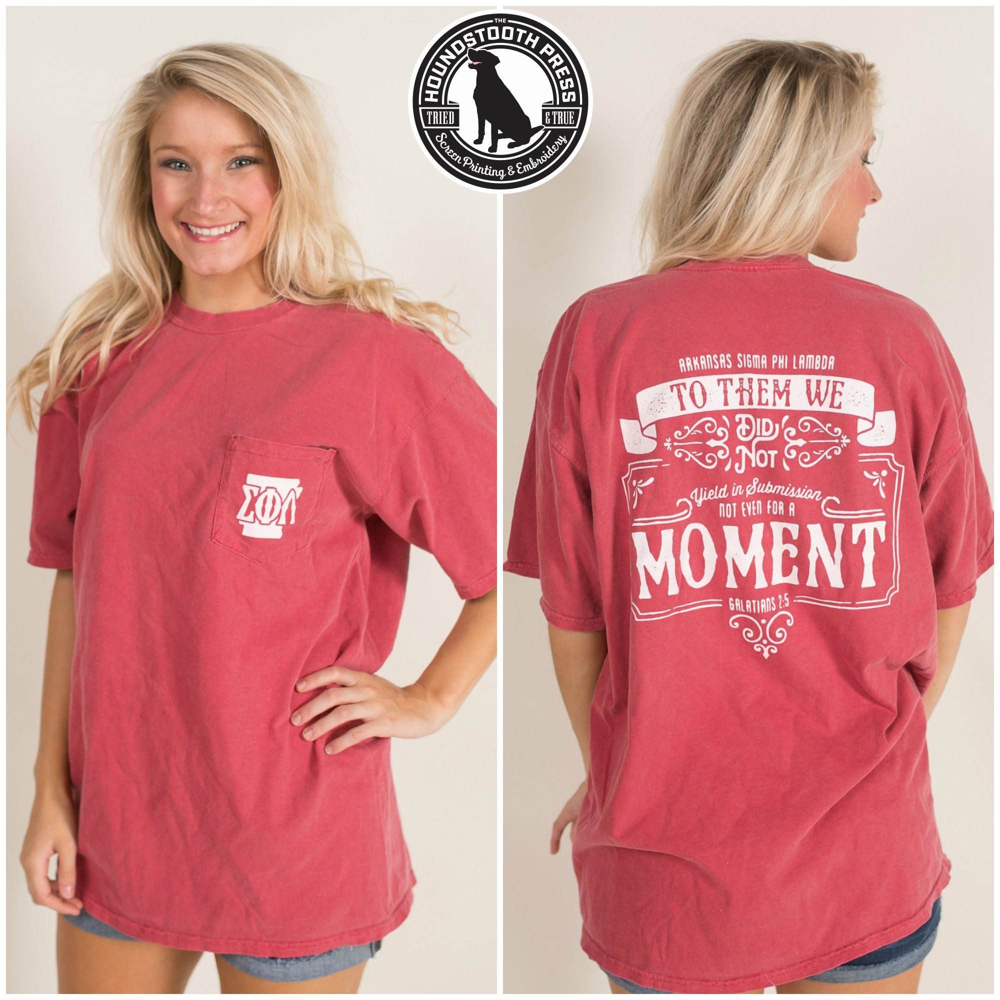 Design t shirt comfort colors - University Of Arkansas Sigma Phi Lambda Promotional T Shirt Comfort Colors Crimson