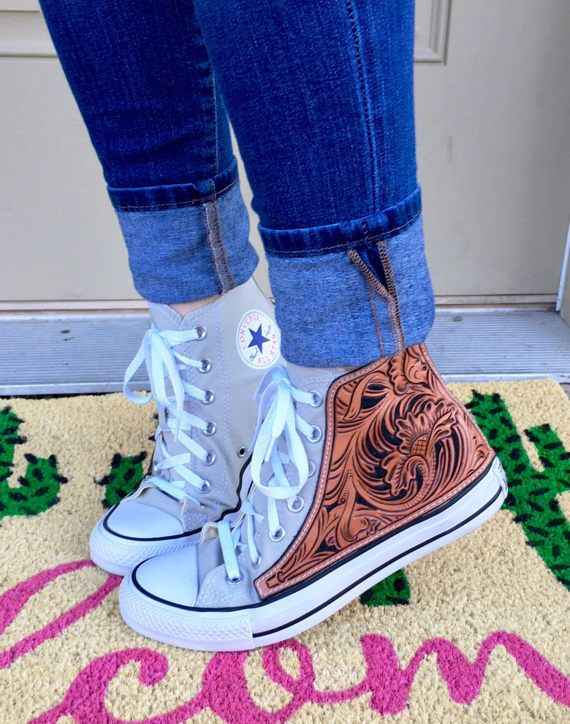 b4a8b5b11e20 Custom hand tooled leather Converse Chuck Taylor Hi-Top Sneakers made to  order. Fully