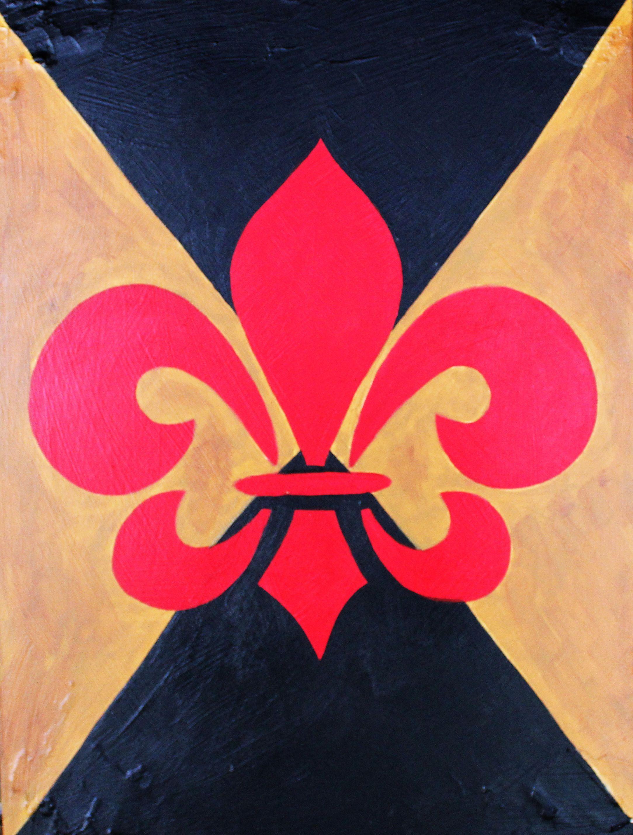 Red Fleur De Lis oil painting Artwork, Art, Drawings