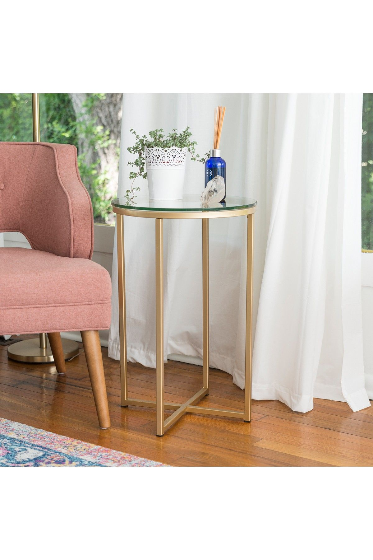 Walker Edison Furniture pany 16 Round Glass Gold Side Table