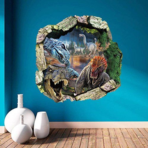 Top me dinosaurs through the wall stickers jurassic park home decoration diy cartoon kids room decal movie mural art magic ties also iuhan fashion decals wallpaper decor rh pinterest