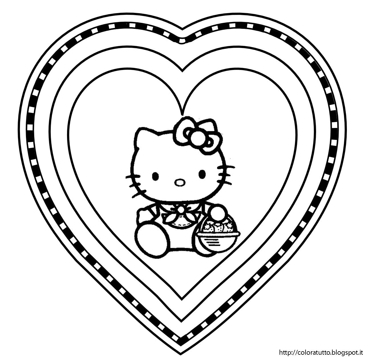 San Valentino Hello Kitty | Disegni da colorare | Pinterest