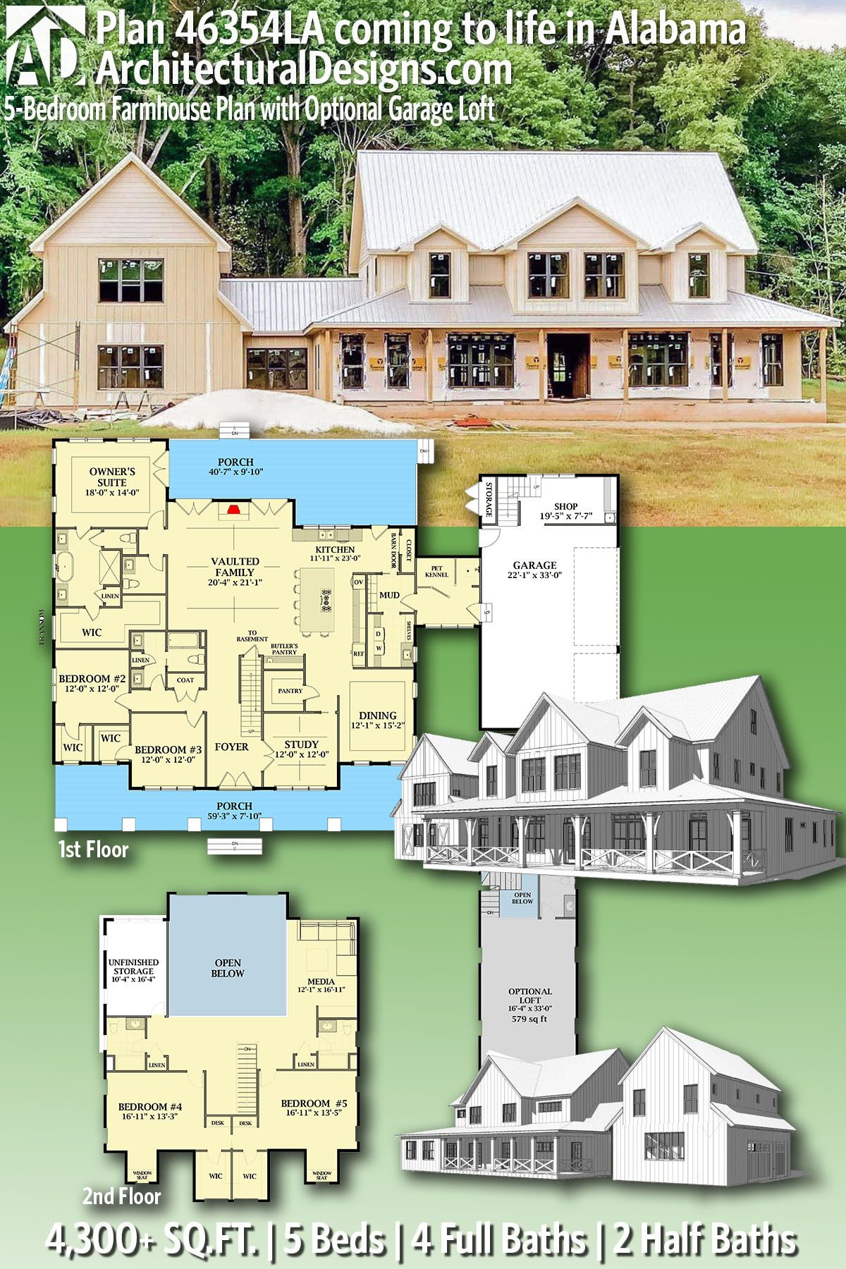 Plan 46354la 5 Bedroom Farmhouse Plan With Optional Garage Loft House Plans Farmhouse Farmhouse Plans House Plans