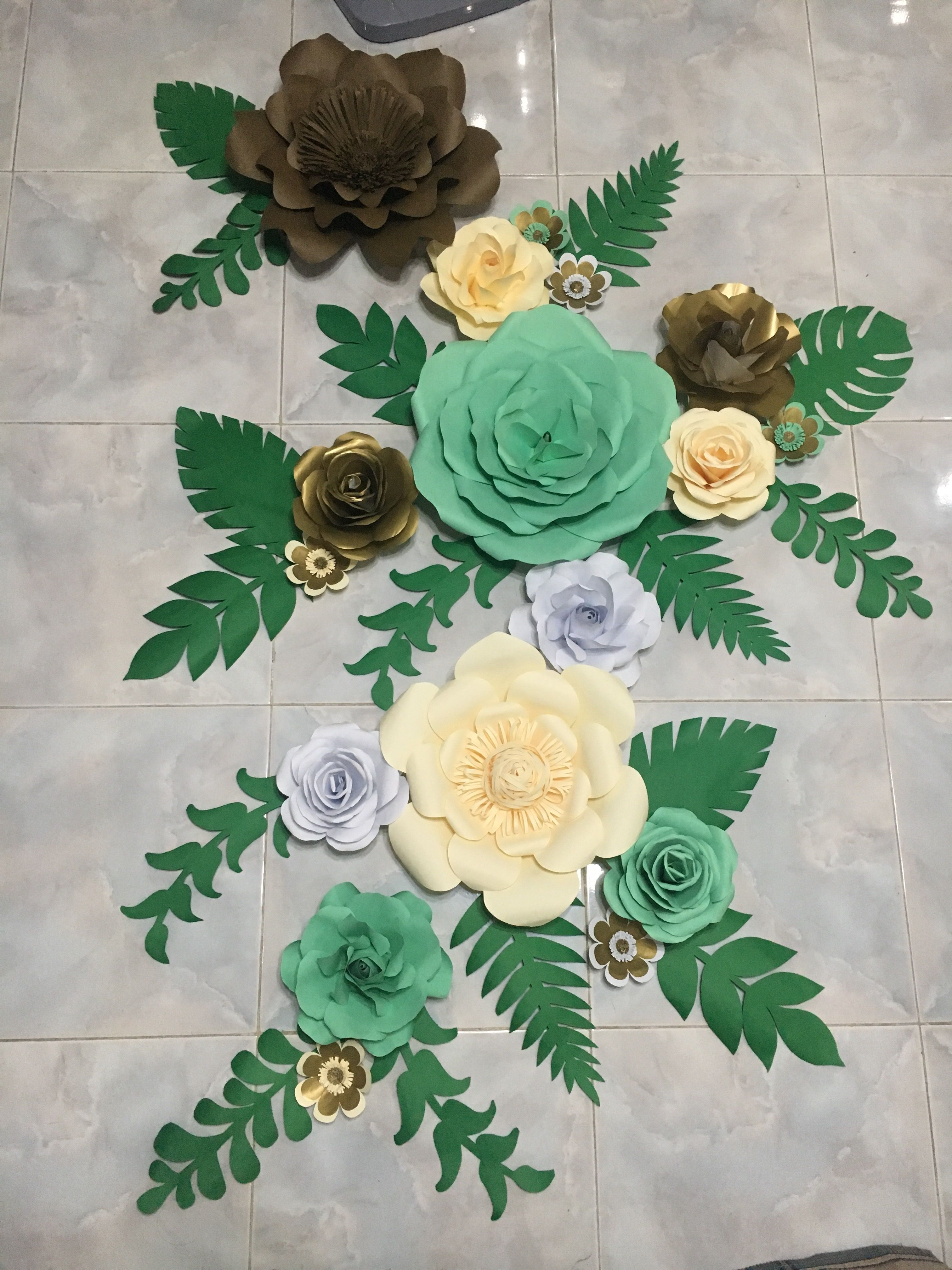 White Cream Mint Green And Gold Paper Flower Backdrop With