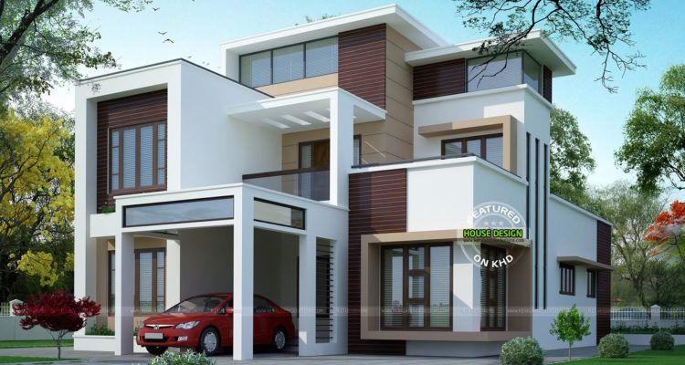 Modern Flat Roof Three Storey Home Kerala House Design New