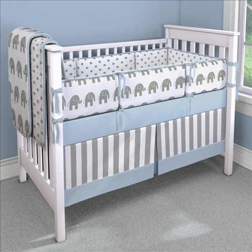 Blue Elephants Nursery Idea | Customizable Crib Bedding Set | Carousel Designs 500x500 image