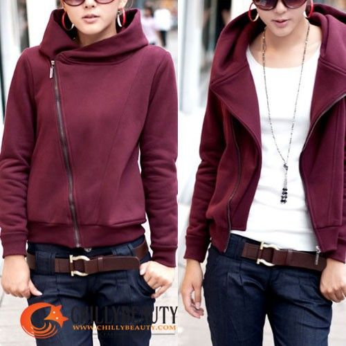 2012 New WomensTrendy Rider Zip Up Hoodie Jacket Red | My Style ...