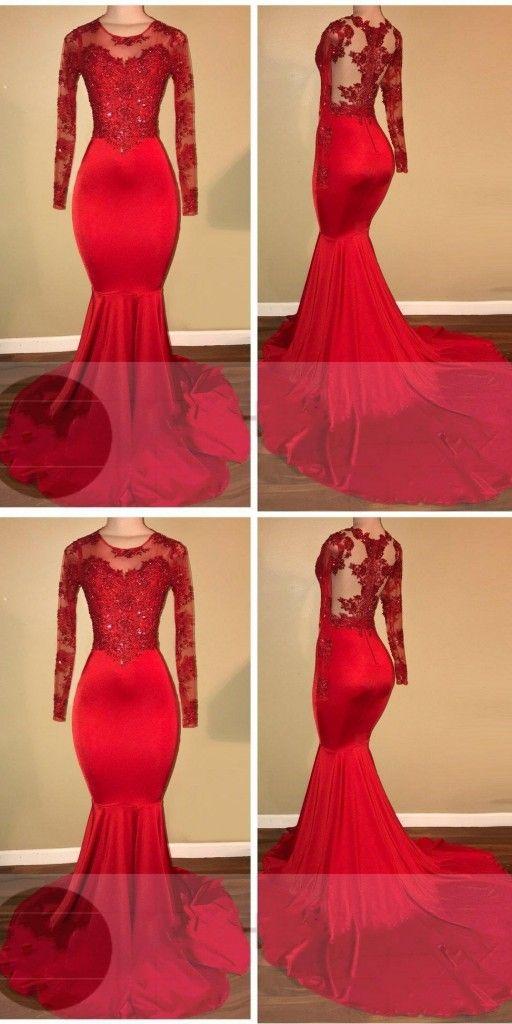 Elegant Abendkleid Rot Lang Günstig Spitze Meerjungfrau ...