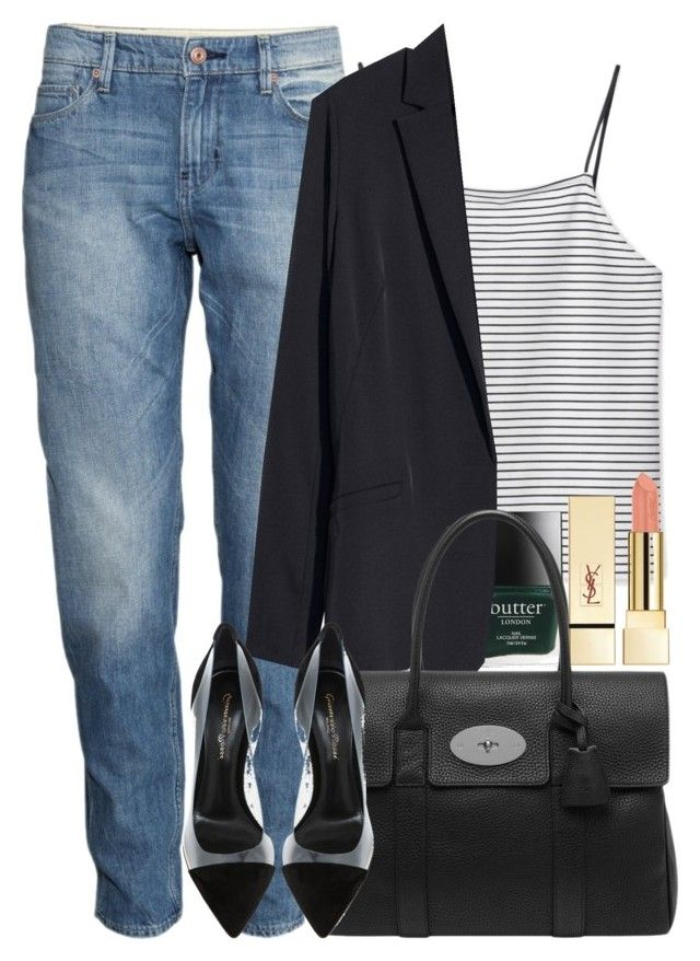 """""""Untitled #1070"""" by alexadmendoza ❤ liked on Polyvore featuring H&M, Racing Green, PUR, Gianvito Rossi and Mulberry"""