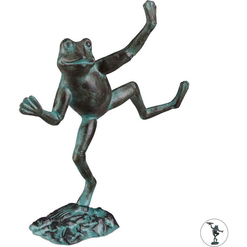 Statue de jardin Grenouille dansante sur un pied fonte fer sculpture figurine de jardin déco,taille L vert – 210026407236659