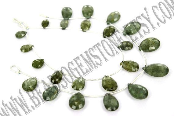 Moss Aquamarine Faceted Pear Quality AA / 18 cm by beadsogemstone