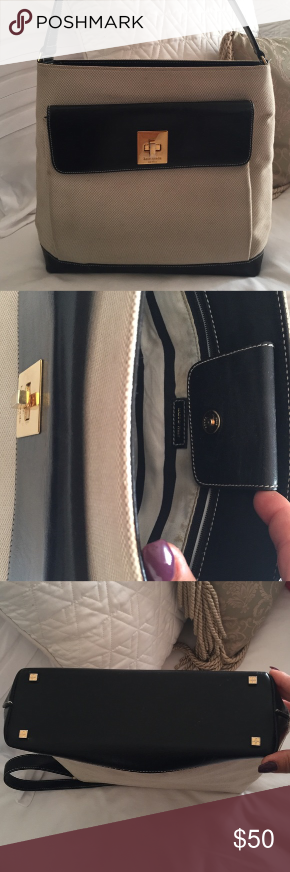 Kate Spade Black/ Cream Single Handle Handbag Very chic vintage Kate Spade single handle handbag in very good condition, just some normal wear and tear. Light scratches on leather, only at the bottom. Stands on its own. kate spade Bags Satchels
