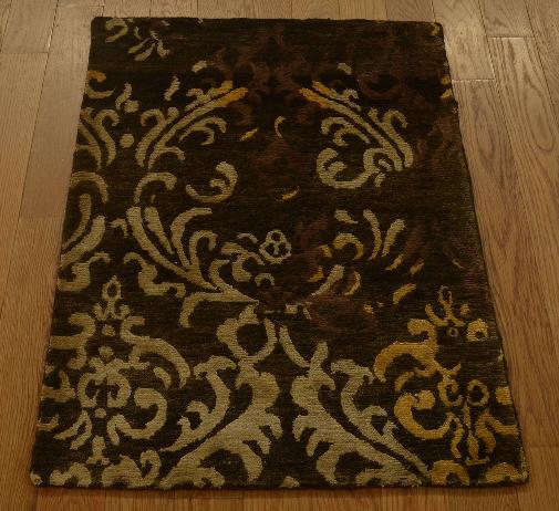 2' x 3' Wool and Silk Modern Nepali Hand Knotted Oriental Rug Damask Design
