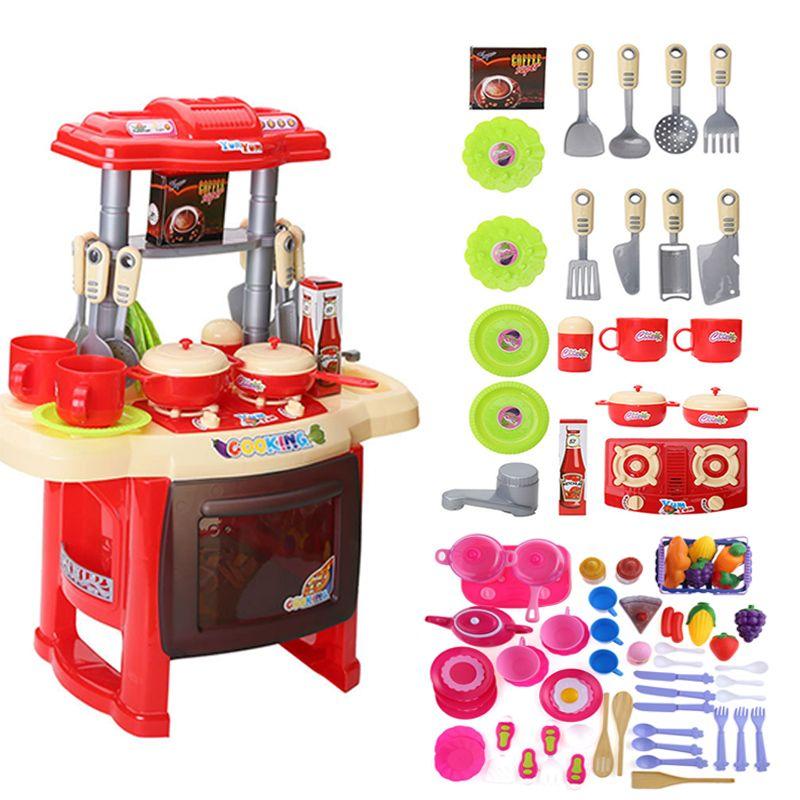 Baby Miniature Küche Kunststoff Pretend Spielen Lebensmittel Kinder  Spielzeug Mit Musik Licht Kinder Küche Kochen Set