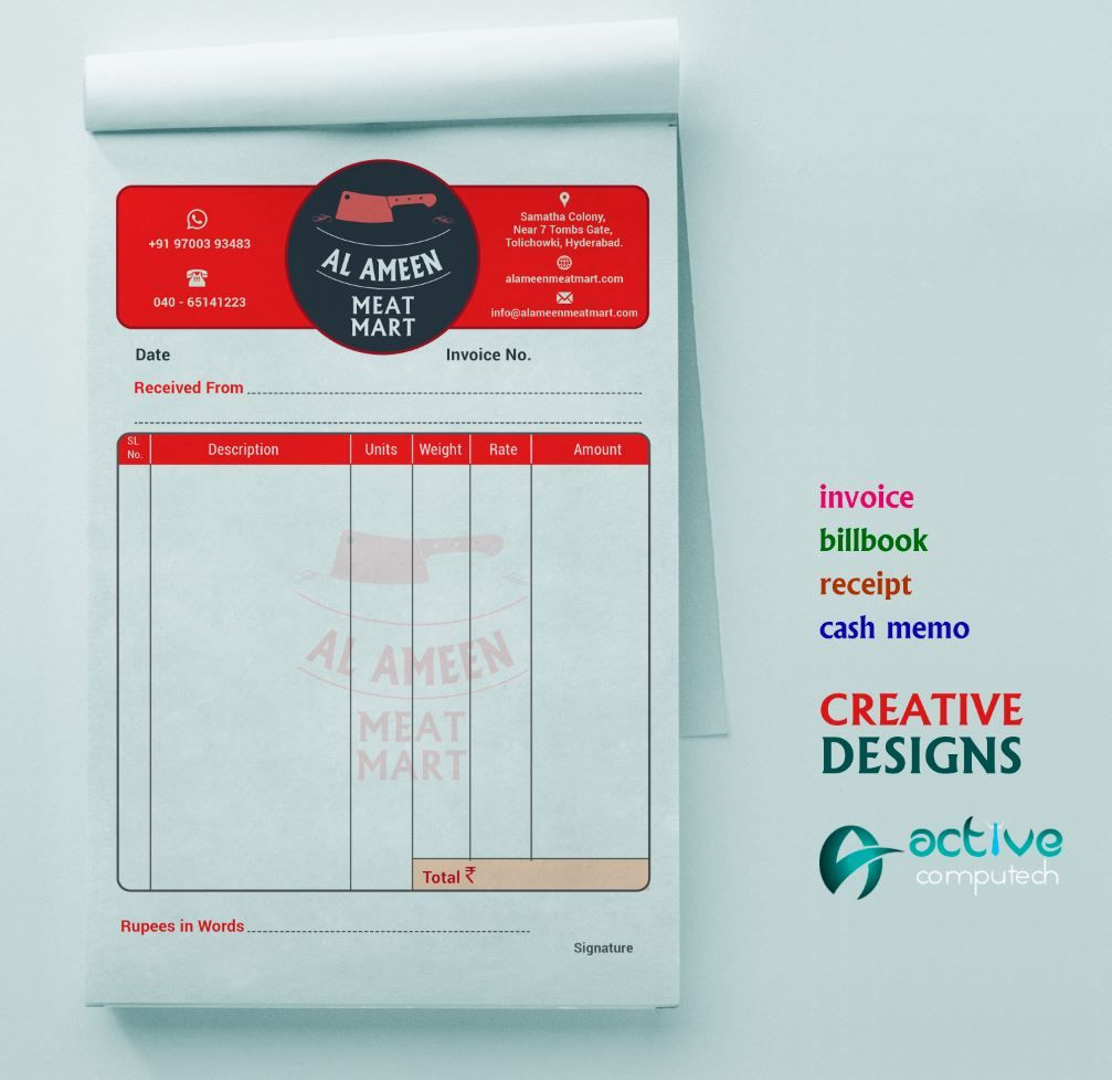 Invoice Bill Book Cash Memo Receipt Invoice Design Book Design Templates Business Card Design