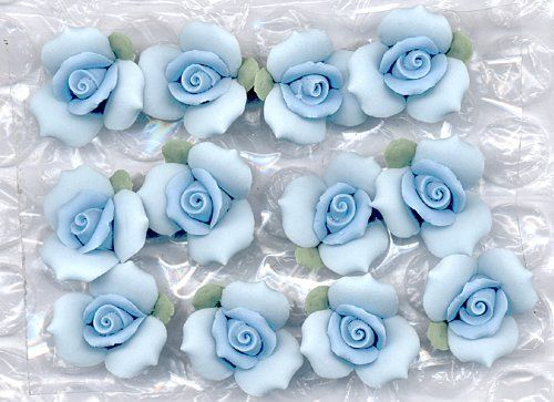Porcelain Bisque 5/8' Blue Roses Add Beauty To Many Creative Crafts (PKG/12) >>> Click image to review more details.