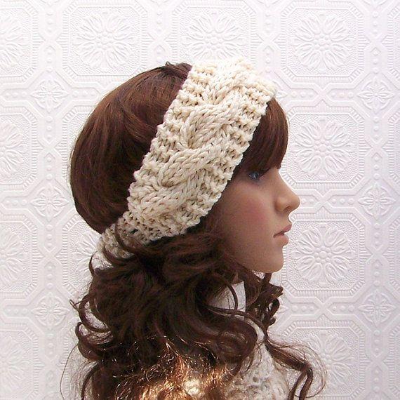 Hand knit headband headwrap ear warmer by SandyCoastalDesigns ...