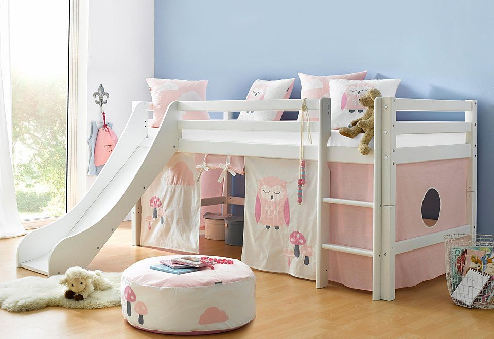 Hoppekids Hochbett »Eule«, Set bestehend aus Bett, Vorhang