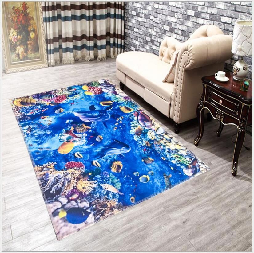 Attractive 3D Rug 40X60CM Mat Coral Cashmere Carpets Home Rugs And Carpets Anti Skid  Coffee Table Area