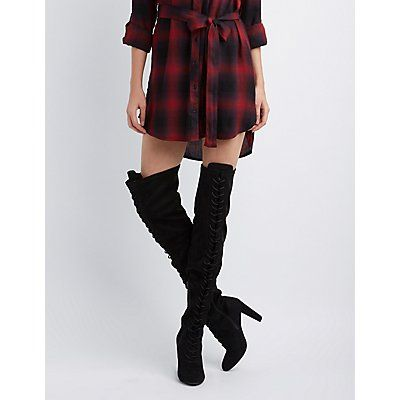 3ab14c2a6 Wild Diva Faux Suede Lace-Up Back Over-The-Knee Boots | Products