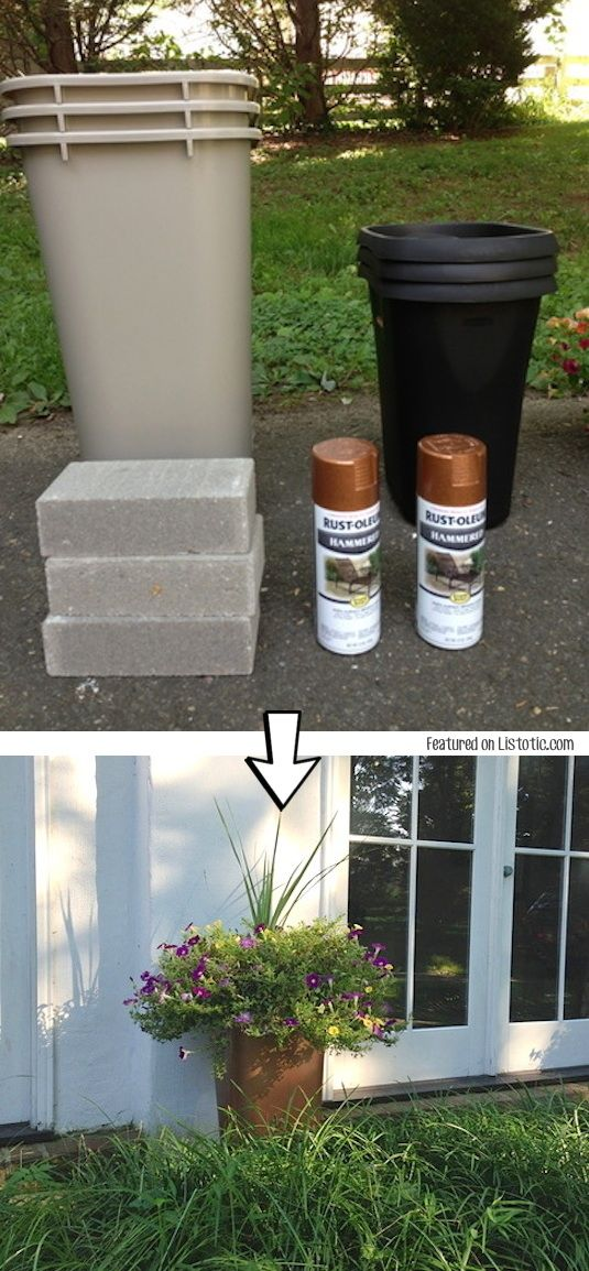 DIY OUTDOOR PLANTERS Turn plastic trash cans into large outdoor planters,  and save a couple hundred bucks! With the hammered spray paint, you would  never ...