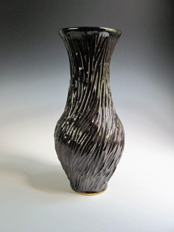 Black Flower Vase Tall Flower Vase Tall Ceramic By Jesstarkart