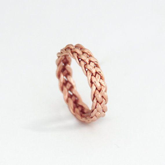 Geflochtene 14 K Rose Gold Ring mit 5 Litzen, Rotgold Ringe, aus geflochtenen Ring, Ring einfach, Etsy Schmuck, Gold Schmuck-Geschenk für Sie