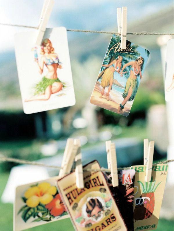 Hawaii Wedding Theme Ideas vintage postcards as back of table