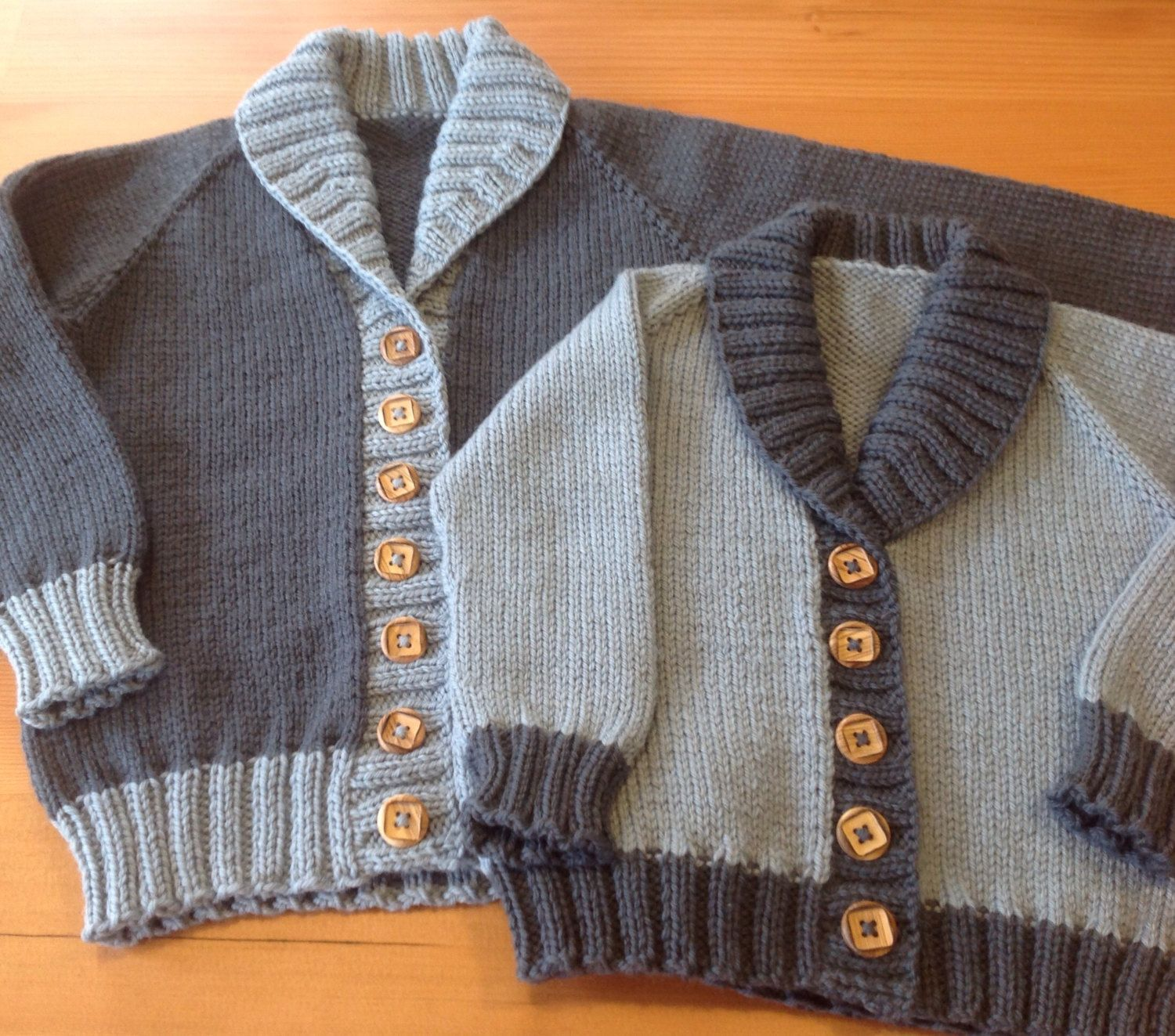 ARCHIE CARDIGAN hand knitted wool baby toddler shawl collar cardigan