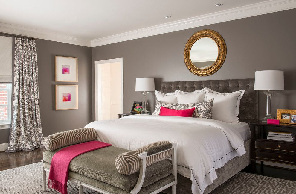 gray walls with a splash of pink in the master bedroom - SAFE