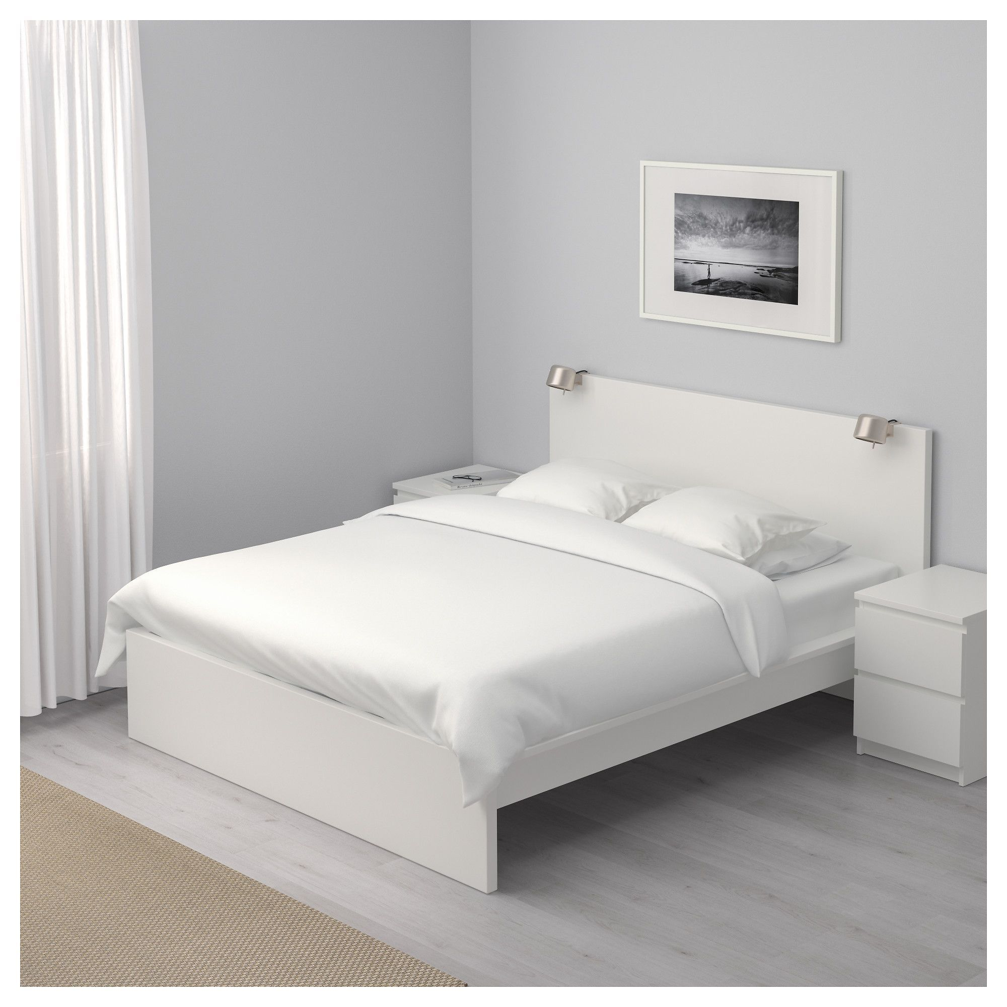 IKEA MALM Bed frame, high White/luröy Standard Double
