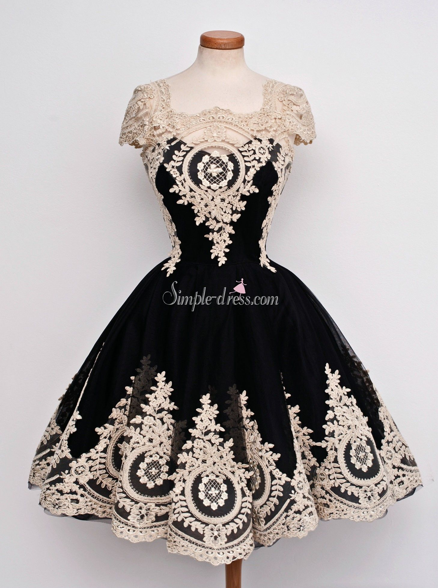 Vintage scoop cap sleeves black short chiffon homecoming dress with