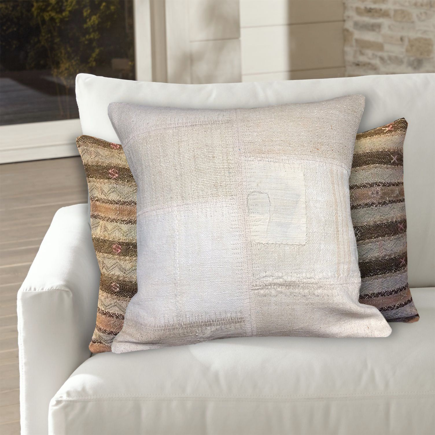 Cream White Patchwork Pillow 20x20 Kilim Pillow Cover Large