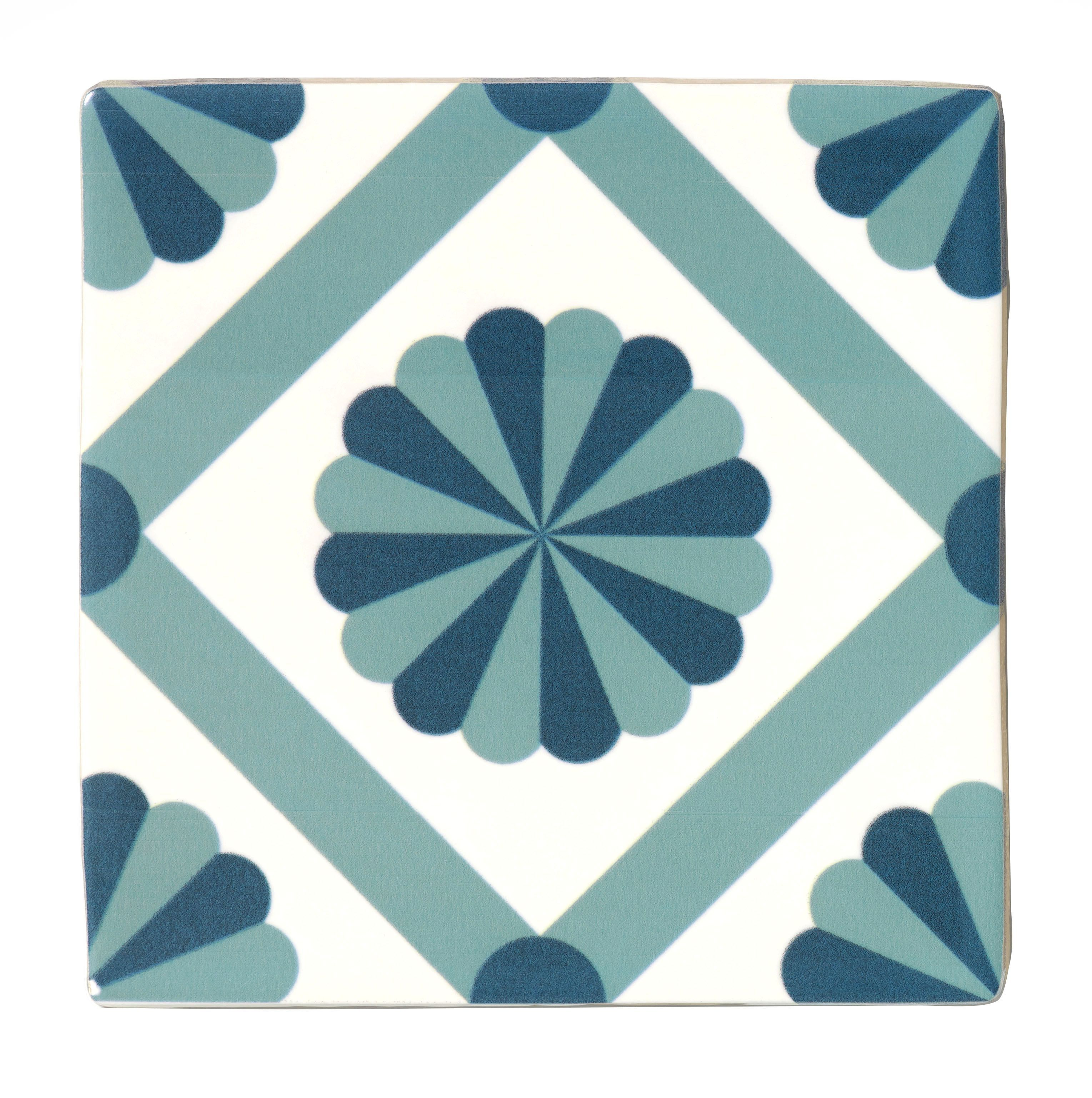 Fusion Blue & White Satin Patterned Ceramic Wall Tile, Pack of 25 ...