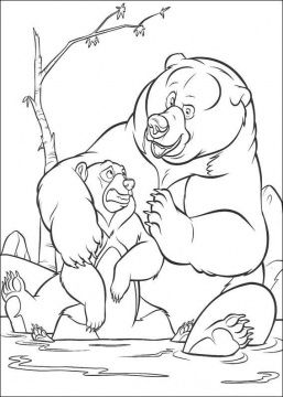 Little Bear And Its Mother Coloring Page