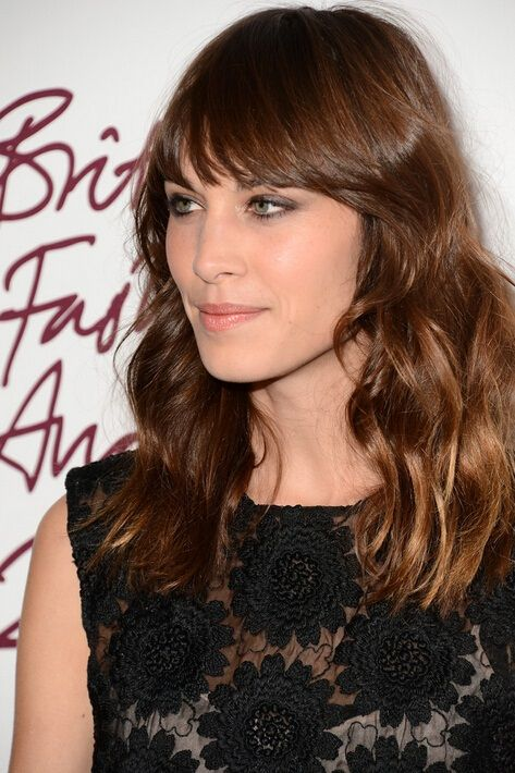 Celebrity Hair Idea For Fall Alexa Chung Long Wavy Hairstyle With