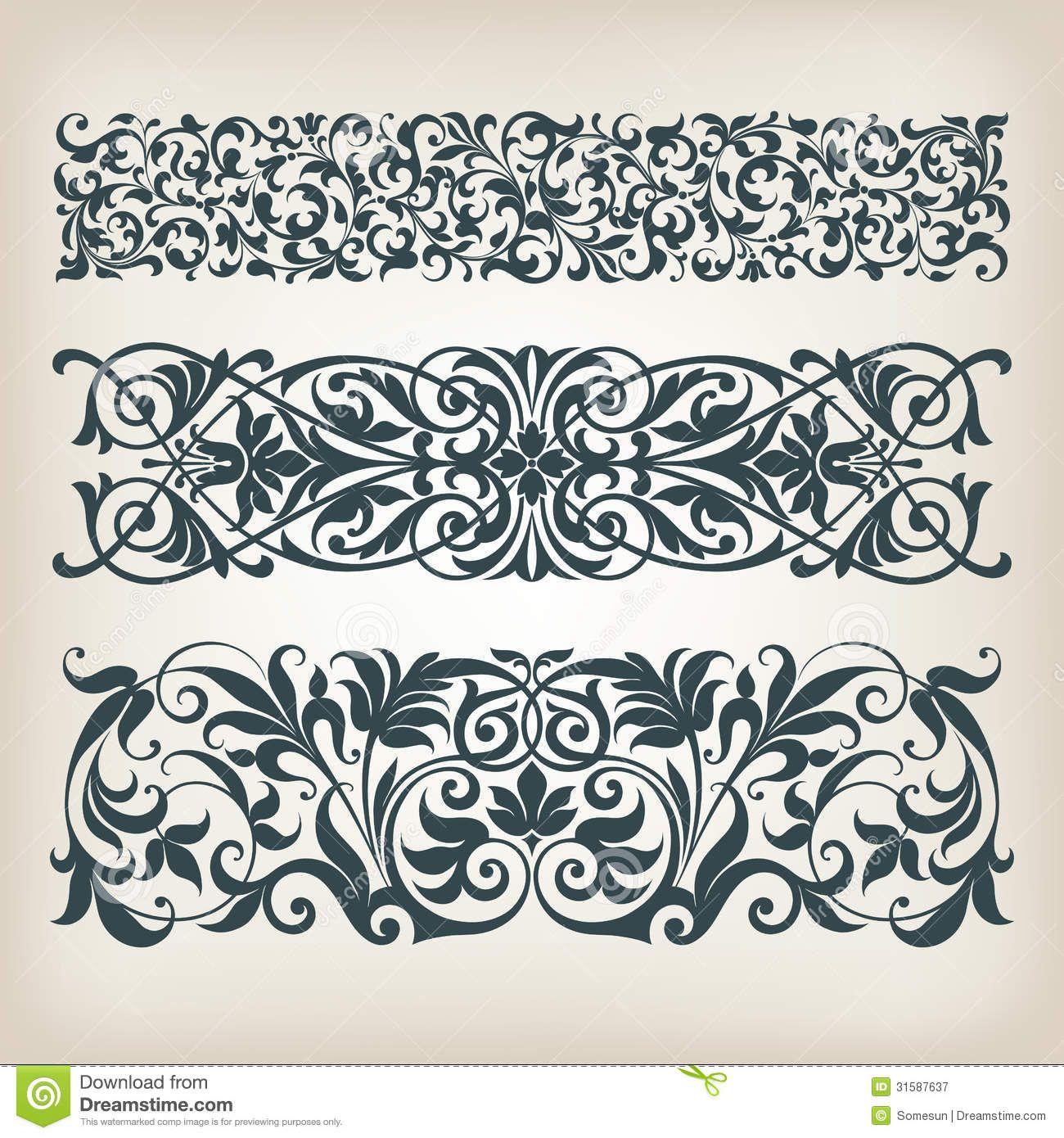 Vintage Set Border Frame Ornate Scroll Calligraphy Vector - Download ...