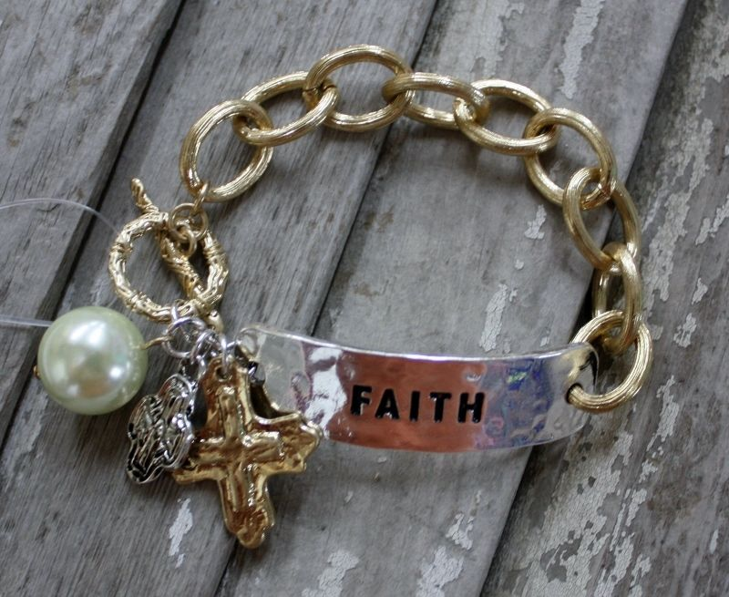 Gold and Silver Faith Bracelet with Dangle Pearl and Charms $16.95 www.gugonine.com