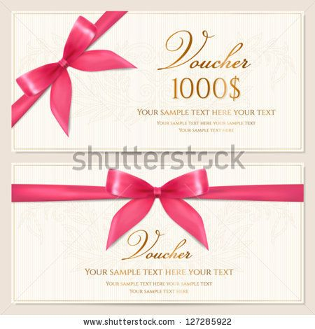Voucher Template With Floral Pattern Border And Red Bow Ribbons