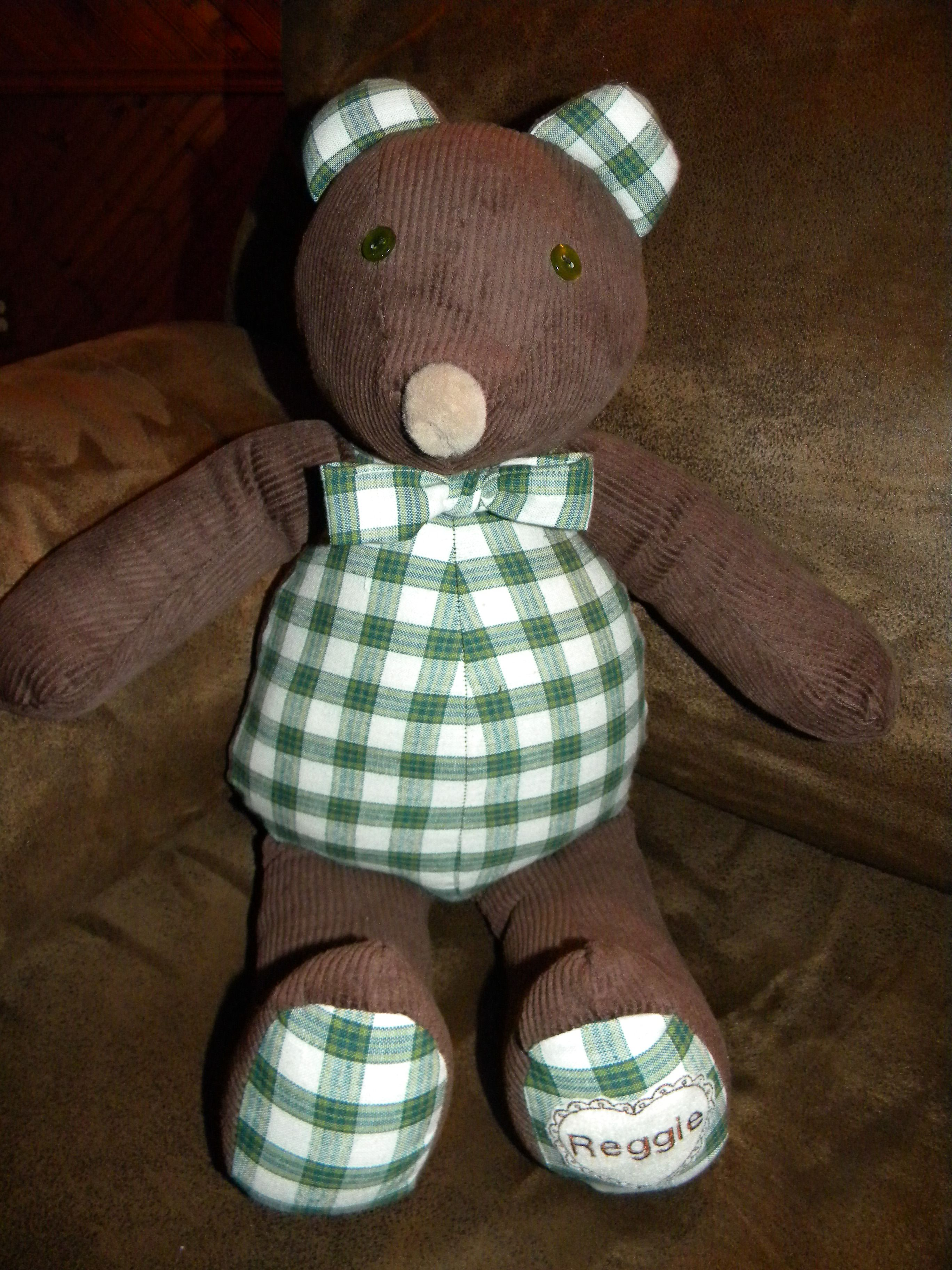 Green Plaid Amp Brown Corduroy Beary Bear