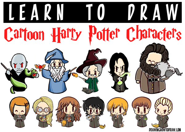 Huge Cartoon Harry Potter Characters Drawing Tutorial Guide How To