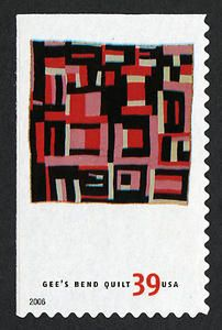 Housetop Variation, by Mary Lee Bendolph. 39c USA quilt post stamp 2006
