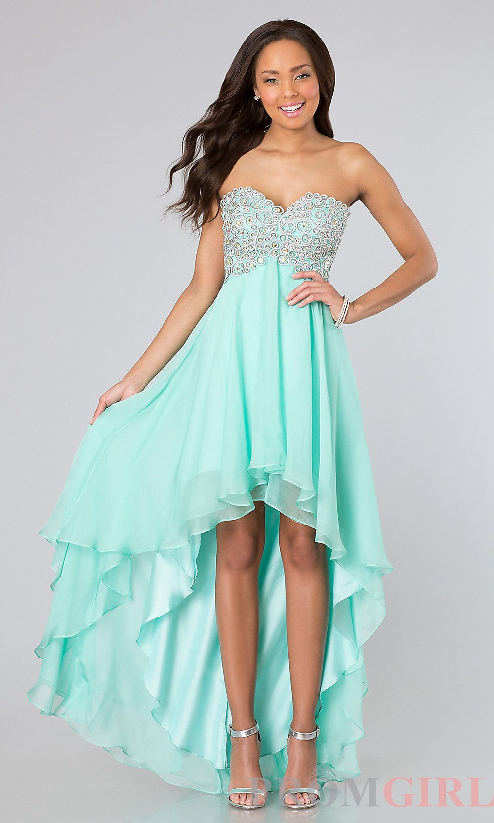 Aquamarine high low dress with beaded empire. | dressy | Pinterest ...