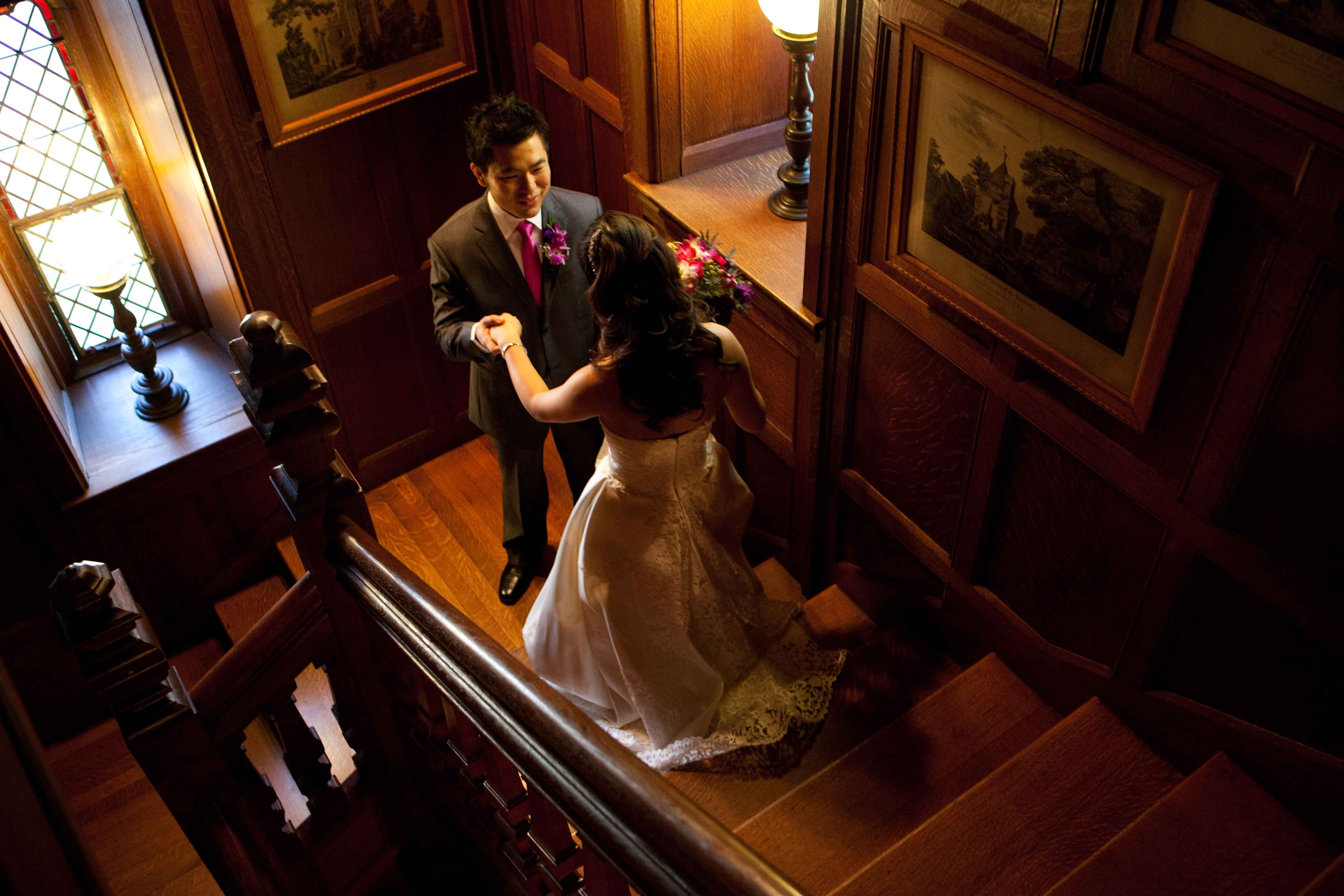 Trying on wedding dresses for the first time  Groom sees the bride for the first time Searles Castle Wyndham NH