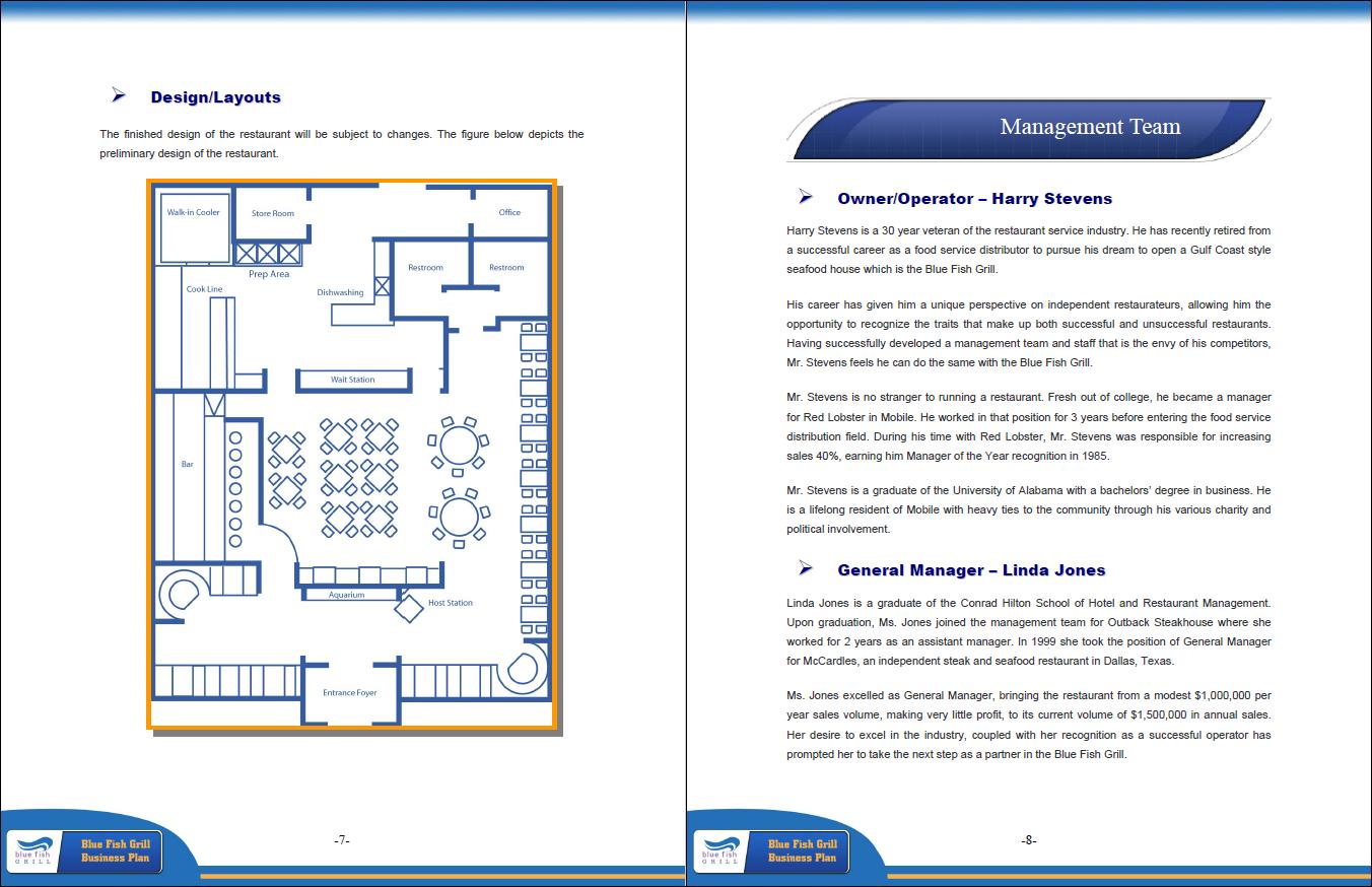 sample full service restaurant business plan examples