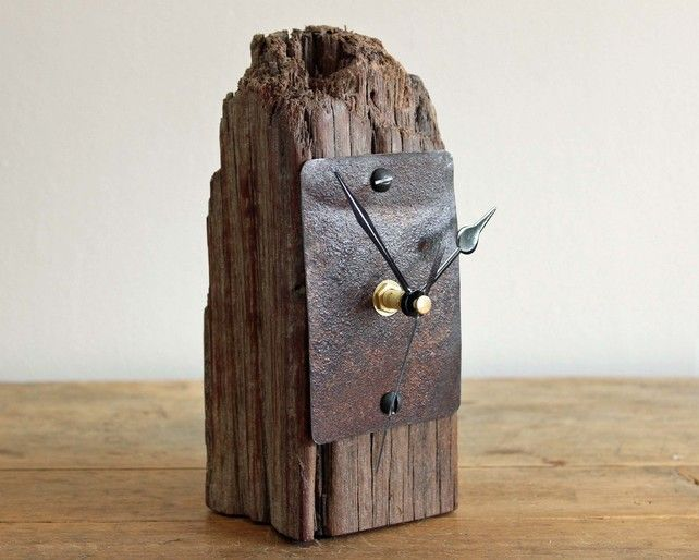 Small Rustic Mantel Desk Clock Driftwood And Rusty Metal Rustic Mantel Desk Clock Diy Clock Wall