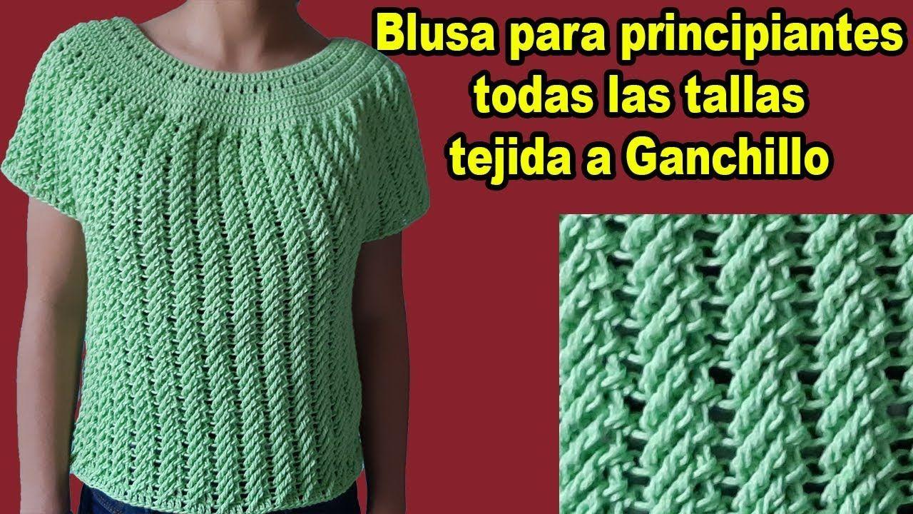 Blusa A Crochet Paso A Paso Facil En Todas Las Tallas Parte 1 Croche Paso A Paso Blusas De Crochet Blusas Tejidas A Crochet