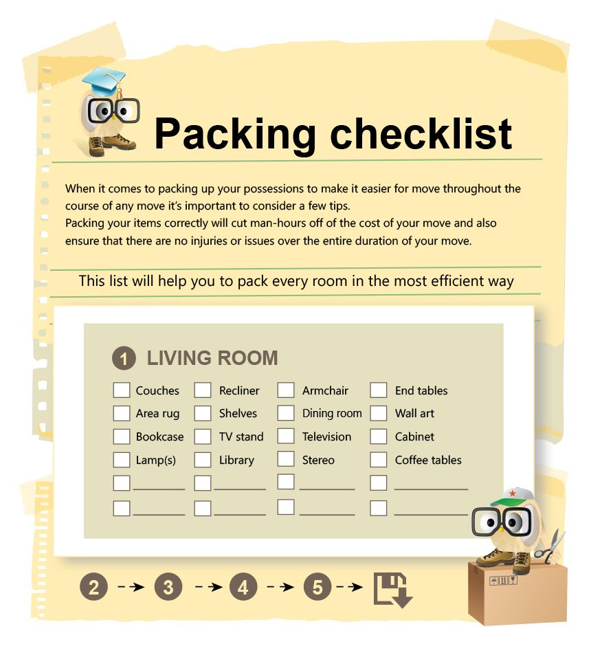 Packing Cheklist For Your Moving Process Cheklist Helps The Moving Process Follow The List Steps Room By Room Moving Out Moving Packing Checklist