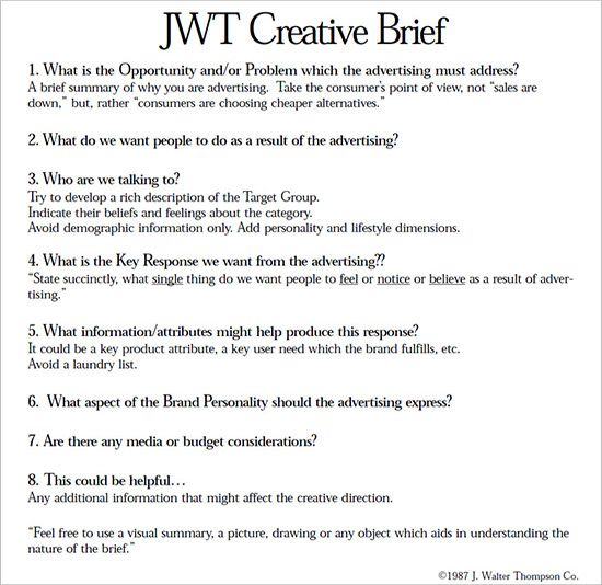 Jwt Creative Brief  Advertising